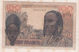 Billet BCEAO  100 Francs  , Alphabet L.278 ,n° 57997 - Westafrikanischer Staaten