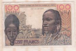 Billet BCEAO  100 Francs 20 3 1961  , Alphabet L.145 A ,n° 20699 - États D'Afrique De L'Ouest