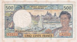 Institut D émission D Outre Mer ,  500 FRANCS  , Alphabet A.013 ,n° 84823 - French Pacific Territories (1992-...)