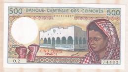 Banque Centrale Des COMORES 500 Francs , Alphabet O.2 ,n° 74432 , Neuf - Comore