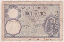 Banque De L'Algérie , Tunisie , 20 Francs Du 4 3 1929 , Alphabet A.2936 ,n° 890 - Argelia