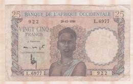 Banque De L Afrique Occidentale, 25 Francs Du 29 12 1950 , Alphabet L.6977 ,n° 922 - Billets