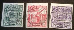 SBZ Sachsen 1946 Satz Mi. 87-89B GEPR. JASCH BPP LUXUS Wiederaufbau (Brücken Eisenbahn Bridges Train Pont - Zone Soviétique