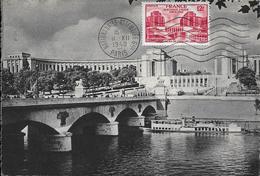 818 - PALAIS DE CHAILLOT - PARIS - NATIONS UNIES 1948 - 12F Rouge, Flamme Postale Au 11-12-48 - Cartes-Maximum