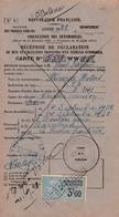 MINERVA MOTORS 1928 / Recipissé  Declaration  Mise En Circulation  Vehicule A Moteur / PREFECTURE PYRENNEES / TIMBRE 3.6 - Auto's