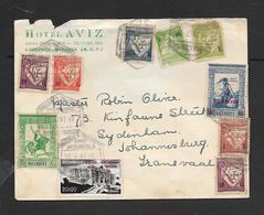 Mozambique, Letter HOTEL AVIZ L.M.. 10 Colour Franking 22.7.47 >Johannesburg - Mozambique