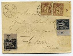 Millésime SAGE  YT103 (0) + N°85 (9) + N°83 (0) Sur Lettre D' AUXONNE / Dept 20 De Côte D'Or / Juillet 1901 - Postmark Collection (Covers)