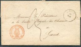 1856 Belgium Dour Wrapper, Societe De Emulation - Gands, Belgium. Beaux-Arts, Fine Arts Society - Postmark Collection