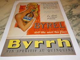 ANCIENNE PUBLICITE BYRRH VIN D ELITE BYREL  1958 - Alcohols