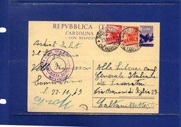 ##(DAN185)-1949-cartolina Postale Democratica L.8 Filagrano C134 Da  Sommatino Per Caltanissetta - 1946-60: Poststempel