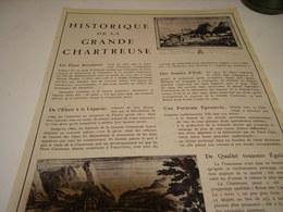 ANCIENNE PUBLICITE LIQUEUR GRANDE CHARTREUSE  1953 - Alcoholes