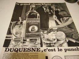 ANCIENNE PUBLICITE  RHUM DUQUESNE  C EST LE PUNCH  1955 - Alcoholes