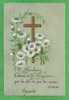 Santino: LA CROCE - Celluloide - Retro Senza Preghiera - Dipinto A Mano - Religione & Esoterismo