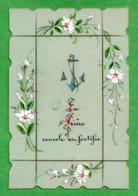 Santino: LA CROCE - SIMBOLI - Celluloide - Retro Senza Preghiera - Dipinto A Mano - Religione & Esoterismo