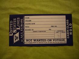Ticket D'embarquement Ticket Cabin United States Lines - Autres