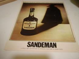 ANCIENNE PUBLICITE PORTO SANDEMAN 1974 - Alcoholes