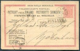 1887 Finland Sweden Denmark Stationery Postcard, Stockholm - Copenhagen PKXP Paquebot, FRA FINLAND - 1856-1917 Russian Government