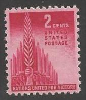 1943 2 Cents Allied Nations, Mint Never Hinged - United States