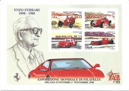 Ferrari Enzo 1898 - 1988, Milano Esposizione Mondiale Di Filatelia 26.10.1998 Giornata Della Ferrari, Poste Italiane. - Personalità Sportive