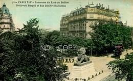 75 - PARIS - LE BOULEVARD RASPAIL ET LA RUE DENFERT ROCHEREAU - LE LION DE BELFORT - - Places, Squares