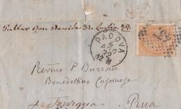 1872 Piccolo Piego Da Padova A Torreggia (Torreglia), Annullo D'arrivo Di Battaglia, Non Essendoci Ancora U P A Torregli - Marcophilie
