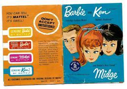 PETIT CATALOGUE MATTEL - BARBIE And  KEN And Barbie's Best Friend MIDGE - 1962 - Poupées Vintage - Barbie