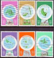 VANUATU 1980 SG #290F//97F Part Set Used 6 Stamps Of 13 Used Inscr. In French Maps - Vanuatu (1980-...)