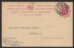 GB 1903 - 1d Private Postal Stationery Card Stamp Dealer Mail - Alfred Smith & Son - Sent To Spain - Philately & Coins
