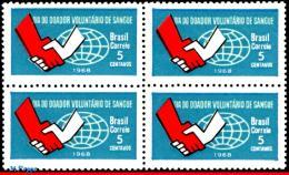 Ref. BR-1108-Q BRAZIL 1968 HEALTH, VOLUNTARY BLOOD DONOR'S, DAY, HANDS, GLOBE, BLOCK MNH 4V Sc# 1108 - Médecine