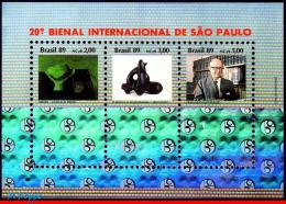Ref. BR-2210 BRAZIL 1989 ART, 20TH INTL. ART BIENNIAL,, HOLOGRAM, MI# B80, S/S MNH 3V Sc# 2210 - Hologrammes