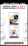 Ref. BR-2755 BRAZIL 2000 HEALTH, AIDS AND ANTI-DRUGS,, UPAEP, AMERICA SERIES, MI# B113, S/S MNH 2V Sc# 2755 - Drogen
