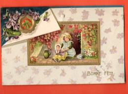 GCA-28  Bonne Fête. Enfants  Gaufré, Relief. Cacchet 1913 - Fêtes - Voeux