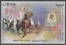 LIBYA, 2017, MNH, MARTYR'S  DAY , HORSES, OMAR MOKHTAR, S/SHEET - Other