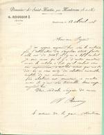 77 MONTEREAU - Domaine De Saint-Martin, A. ROUSSIN  Agriculteur - Lettre 1908 - Montereau