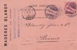 Carte Postale 1897 Lausanne Suisse Madère Blandy Reims Marne Glas Cholet - Covers & Documents