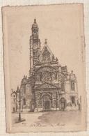 8AK913 PARIS STE ETIENNE DU MONT DESSIN ROBIN  2 Scans - Autres Monuments, édifices