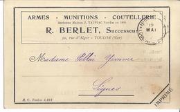 ARMES-MUNITIONS-COUTELLERIE-  R. BERLET SUCCES. 1924  Toulon Var - Commercio