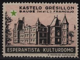 CASTLE Le Château De Grésillon / Baugé - ESPERANTO France - Cinderella / Label / Vignette - Esperanto