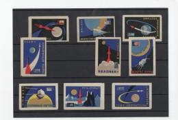 Matchbox Label Soviet Russia SPACE Propaganda 1961 Set 9 Labels - Matchbox Labels