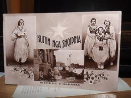 CARTOLINA RICORDO D' ALBANIA ALBANY  COSTUME DI TIRANA DAVANTI LA MOSCHEA AK CPA - Albania