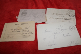 Lot De 4 Cartes-lettres D'un Poilu - 1914-18