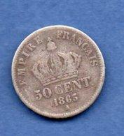 Napoléon III  -  50 Centimes 1865 A  -  état TB - G. 50 Centimes