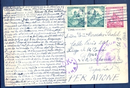1940 , BOHEMIA Y MORAVIA , TARJETA POSTAL , PRAHA - BARCELONA , CORREO AÉREO , CENSURA - Bohemia & Moravia