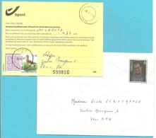 """Brief Met Ongeldige Zegel,met Dokument """"164"""" """"insuffisamment Affranchi..."""" Met Zegels1850+3502 Met Stempel ATH 3 - 1985-.. Vögel (Buzin)"""
