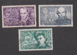 France Oblitérés - N° 908 à 910 - Baudelaire, Verlaine Et Rimbaud - 1951 - TB - Oblitérés