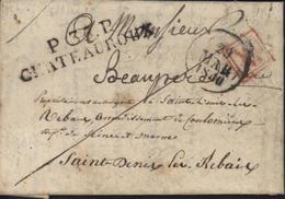 Lettre De Deols 36 Indre Du 28 Mars 1830 Port Payé Marque Linéaire P35P Chateauroux Dateur 29 Mars 1830 Cachet Rouge WM - Marcophilie (Lettres)