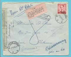 925 Op Brief Stempel TOURNAI Naar Flellemmes-Lille, Stempel RETOUR, Strookje LETTRE EN REBUT + Z304 (Roze).... - 1953-1972 Brillen