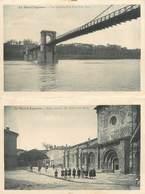 """CPA FRANCE 47 """"Le Mas D'Agenais, Vue Générale Et Le Pont Et église Romane"""" / CARTE DOUBLE - France"""