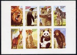 7896 Oman (bears) 1974 Zoo Animals (Lion, Panda, Penguin, Kangaroo, Chimp Etc) Imperf Set Of 8 Values (1b To 25b) U/m - Bears