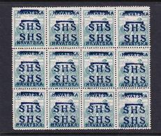 Yugoslavia SG 58 1918 Harvesters 6f  Green , Block 12 Double Overprint,Mint Never Hinged - Usati